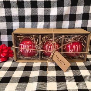 Rae Dunn Christmas JINGLE SANTA WISH ornaments